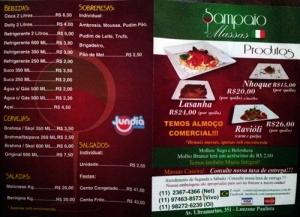 Her er menyen, med blant annet kilospriser for pastaporsjoner. Prisen ganget med ca. tre tilsvarer prisen i norske kroner.